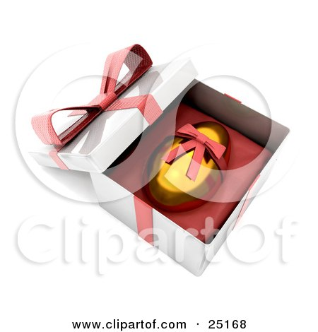 Clipart Illustration of a Golden Easter Egg With A Red Ribbon Around It, Resting In An Open Gift Box by KJ Pargeter