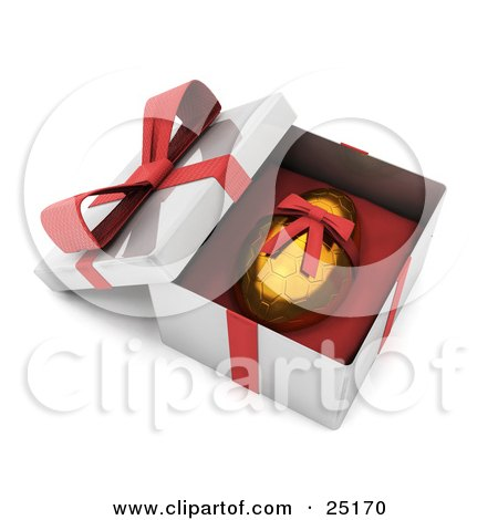 Clipart Illustration of a Gold Easter Egg With A Honeycomb Pattern And A Red Ribbon Around It, Resting In An Open Gift Box by KJ Pargeter