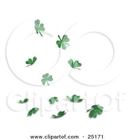 Green St Patrick's Day Shamrock Clover Leaves Falling Down Posters, Art Prints