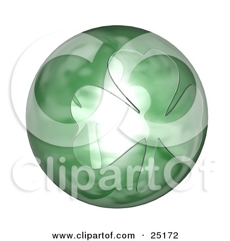 Clipart Illustration of a Big St Paddy's Day Orb With A Clover Design by KJ Pargeter