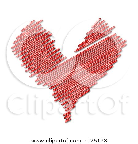 Sketched Red Heart With Lines Over A White Background Posters, Art Prints