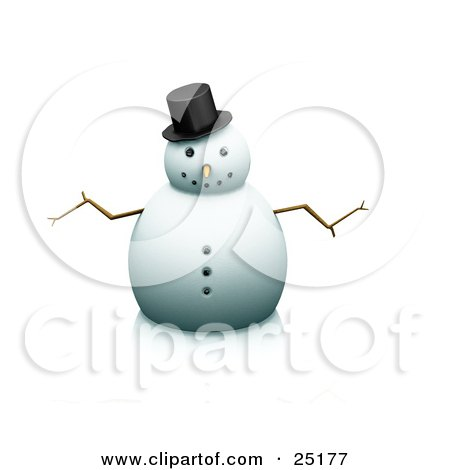 Clipart Illustration of a Nice Snowman With Stick Arms And A Carrot Nose, Wearing A Hat And Facing Front by KJ Pargeter