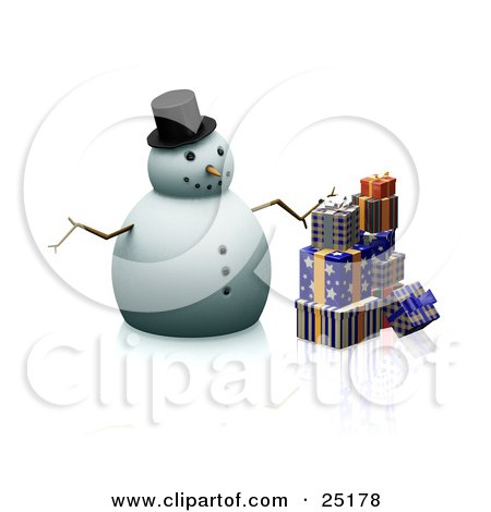 Clipart Illustration of a Christmas Snowman With A Carrot Nose, Stick Arms And A Hat, Standing By Wrapped Gifts by KJ Pargeter