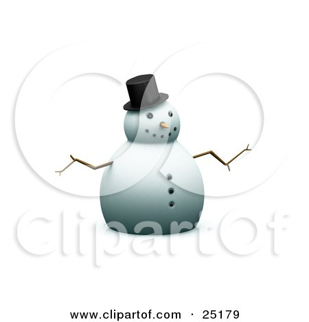 Clipart Illustration of a Happy Christmas Snowman With A Carrot Nose And Stick Arms, Wearing A Top Hat by KJ Pargeter