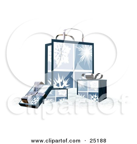 Clipart Illustration of Wrapped Christmas Presents In Boxes, In Front Of A Matching Gift Bag With Four Snowflake Scenes by KJ Pargeter