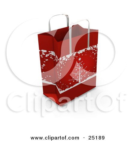 Red Christmas Gift Bag With A Tree In The Snow Scene