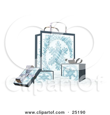 Clipart Illustration of Wrapped Christmas Presents In Boxes, In Front Of A Matching Gift Bag With A Snowflake Scene by KJ Pargeter
