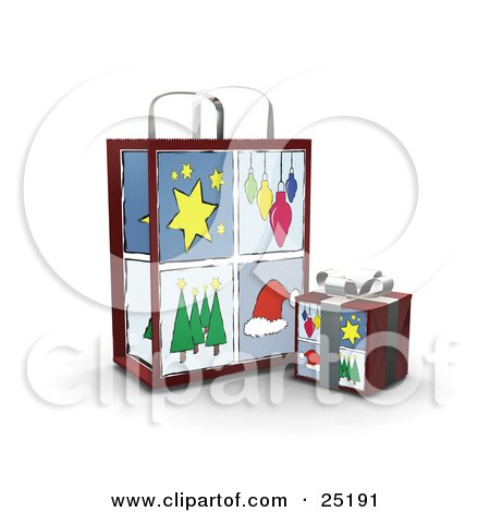 Clipart Illustration of a Wrapped Christmas Present In A Box, In Front Of A Matching Gift Bag With Star, Ornament, Tree And Santa Hat Scenes by KJ Pargeter