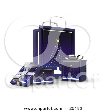 Clipart Illustration of Wrapped Christmas Presents In Boxes, In Front Of A Matching Gift Bag With A Christmas Tree Scene by KJ Pargeter