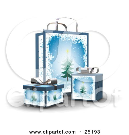Clipart Illustration of Wrapped Christmas Presents In Boxes, In Front Of A Matching Gift Bag With Trees And Snow by KJ Pargeter