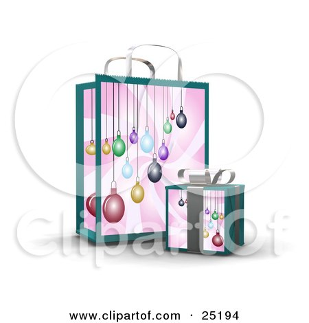 Clipart Illustration of a Wrapped Christmas Present In A Box, In Front Of A Matching Gift Bag With An Ornament Design by KJ Pargeter