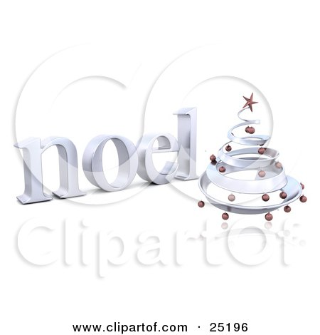 Clipart Illustration of a Chrome Spiral Christmas Tree With Red Ornaments And A Star, In Front Of A Noel Greeting, Over White by KJ Pargeter