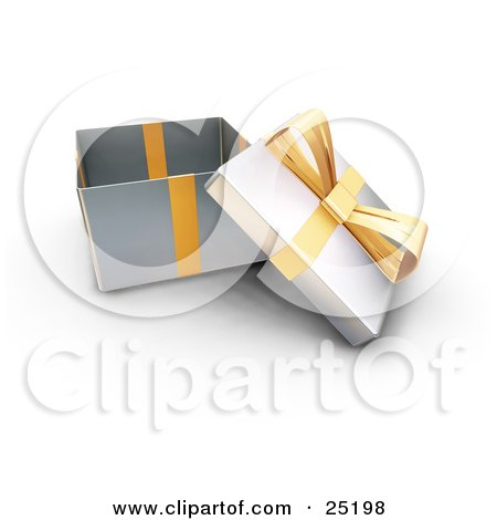 Clipart Illustration of an Opened Christmas Gift Wrapped In Silver Paper With A Gold Ribbon And Bow by KJ Pargeter