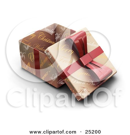 Clipart Illustration of an Opened Christmas Gift Wrapped In Gold Christmas Greeting Paper With A Red Ribbon And Bow by KJ Pargeter