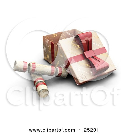Clipart Illustration of Three Opened Christmas Presents Wrapped In Gold Christmas Greeting Paper With A Red Ribbons And Bows by KJ Pargeter