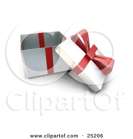 Clipart Illustration of an Opened Christmas Gift Wrapped In Silver Paper With A Red Ribbon And Bow by KJ Pargeter