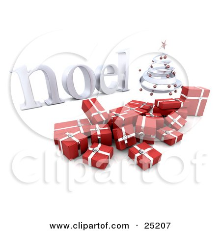 Clipart Illustration of a Silver Spiraled Christmas Tree With Red Ornaments, Over Red And Silver Christmas Gifts by KJ Pargeter