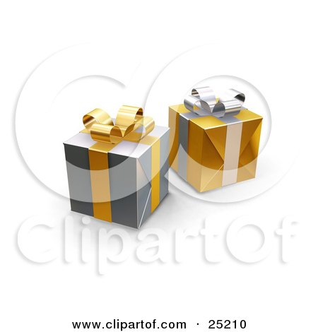 Clipart Illustration of Two Unopened Christmas Gifts Wrapped In Silver And Gold Paper, Ribbons And Bows by KJ Pargeter