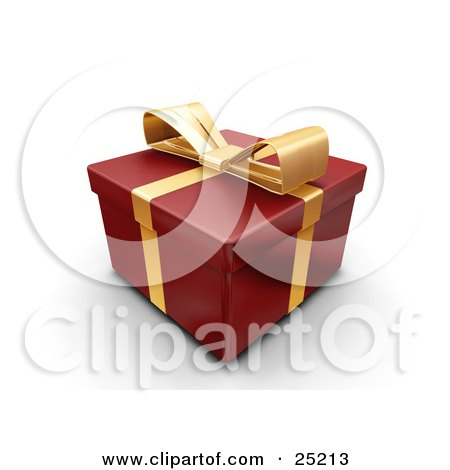 Clipart Illustration of an Unopened Christmas Gift Wrapped In Red Paper With A Gold Ribbon And Bow by KJ Pargeter