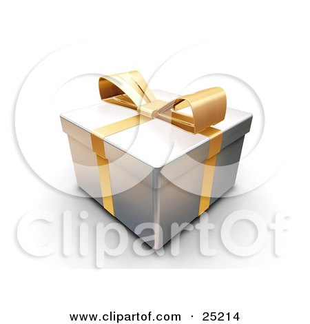 Clipart Illustration of an Unopened Christmas Gift Wrapped In Silver Paper With A Yellow Ribbon And Bow by KJ Pargeter