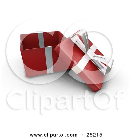 Clipart Illustration of an Opened Christmas Gift Wrapped In Red Paper With A Silver Ribbon And Bow by KJ Pargeter