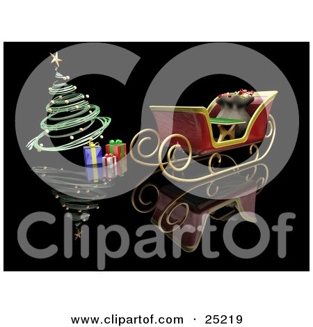 Clipart Illustration of a Toy Sack In Santa's Sleigh Near Christmas Presents Under A Green Spiral Christmas Tree With Golden Ornaments by KJ Pargeter