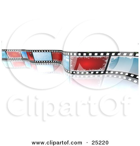 Clipart Illustration of a Christmas Photo Filmstrip With Blue And Red Snowflake Spaces, Curling Over A White Reflective Background by KJ Pargeter