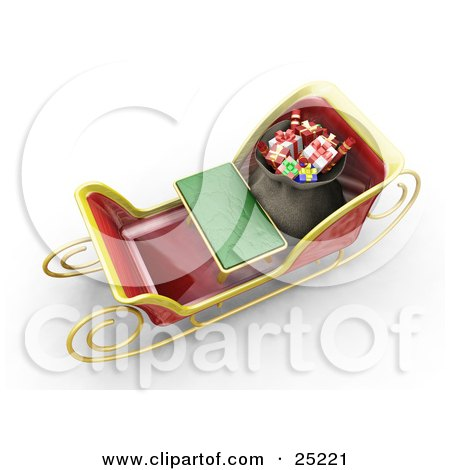 Clipart Illustration of Santa's Sleigh With A Green Bench And Full Bag Of Wrapped Christmas Gifts, As Seen From Above by KJ Pargeter