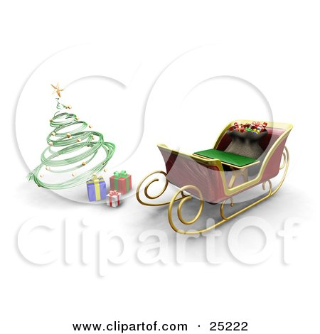 Clipart Illustration of Santa Claus' Sleigh With A Full Toy Sack, Parked In Front Of A Green Spiral Christmas Tree With Presents by KJ Pargeter