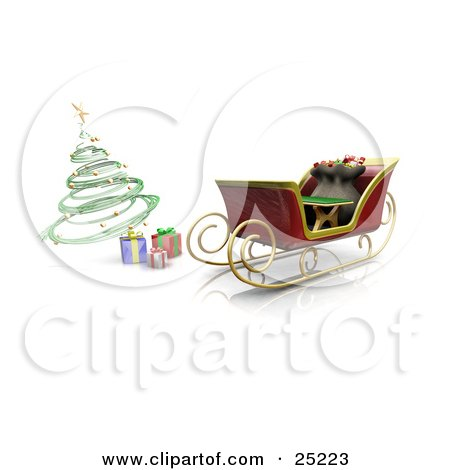 Clipart Illustration of Wrapped Gifts Under A Green Spiral Christmas Tree By Santa's Parked Sleigh by KJ Pargeter