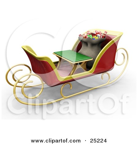 Clipart Illustration of Santa's Toy Sack Nestled Behind A Green Bench In His Christmas Sleigh by KJ Pargeter