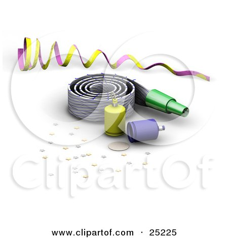 preview clipart purple and yellow ribbon noise maker party poppers and confetti at a new year or birthday party by kj pargeter