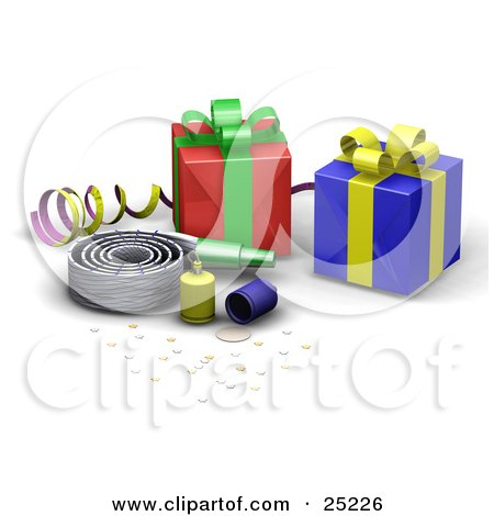 Clipart Illustration of a Nosie Maker, Confetti, Party Poppers, Ribbon And Wrapped Gifts At A Birthday Party by KJ Pargeter