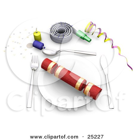 Clipart Illustration of a Gift On A Table Place Setting With Confetti, Party Poppers, Noise Makers And Ribbons At A Birthday Party by KJ Pargeter