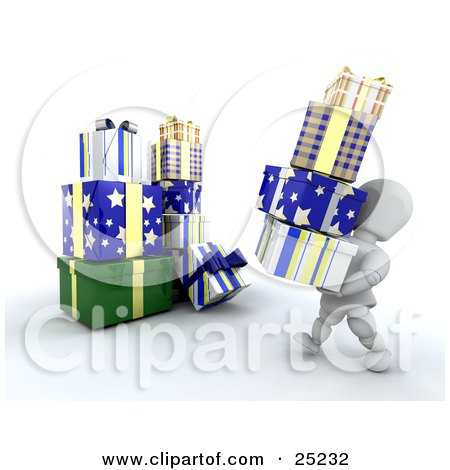 Clipart Illustration of a White Character Carrying A Stack Of Blue, White And Yellow Christmas Presents Over To A Large Pile by KJ Pargeter