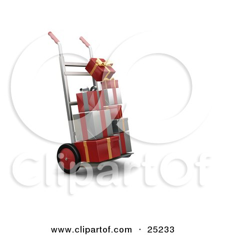 Clipart Illustration of Piles Of Red, Gold And Silver Christmas Presents On A Dolly by KJ Pargeter