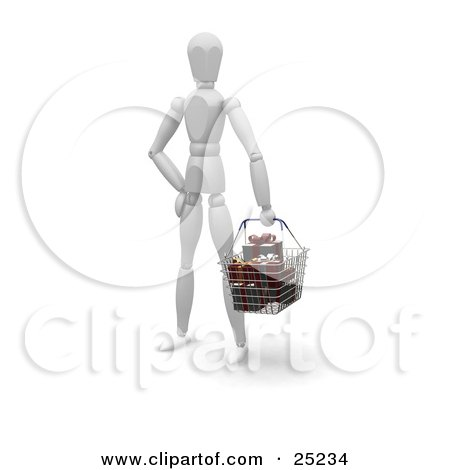 Clipart Illustration of a White Figure Character Standing In A Store, Carrying A Shopping Basket Full Of Wrapped Christmas Gifts by KJ Pargeter