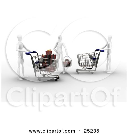 Clipart Illustration of Three White Figure Characters Shopping In A Store, One Pushing An Empty Cart, One With A Cart Full Of Christmas Presents, The Other With A Basket Full Of Gifts by KJ Pargeter