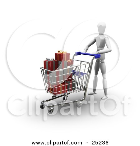 Clipart Illustration of a White Figure Character Pushing A Shopping Cart In A Store, Full Of Wrapped Red And Green Christmas Presents by KJ Pargeter