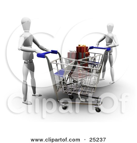 Clipart Illustration of Two White Figure Characters Pushing Shopping Carts In A Store, One Cart Full Of Wrapped Christmas Gifts by KJ Pargeter