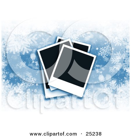 Clipart Illustration of Three Piled Blank Polaroid Christmas Pictures Over A Blue Snowflake Background by KJ Pargeter