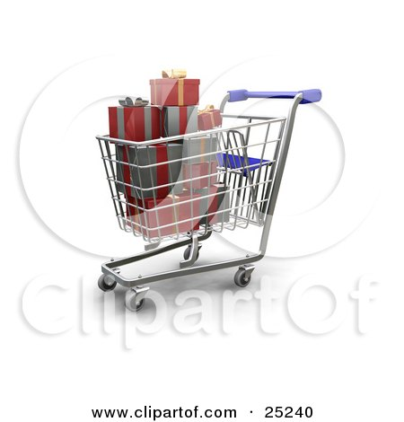 Clipart Illustration of a Full Metal Shopping Cart With A Blue Handle, With Wrapped Christmas Presents by KJ Pargeter