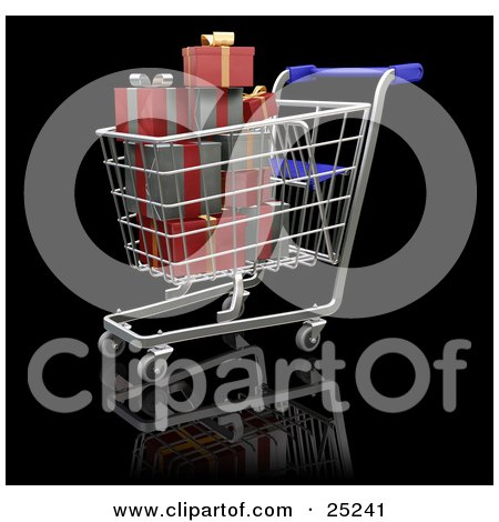 Clipart Illustration of a Full Metal Shopping Cart With A Blue Handle, With Wrapped Red And Silver Christmas Presents by KJ Pargeter