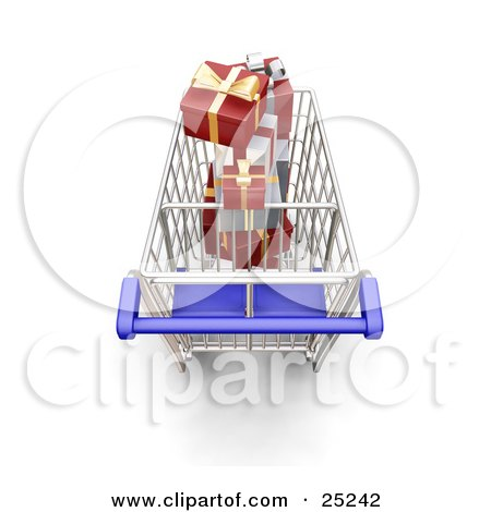 Clipart Illustration of an Above View Of A Metal Shopping Cart With A Blue Handle, Full Of Wrapped Christmas Gifts by KJ Pargeter
