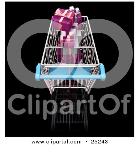 Clipart Illustration of an Above View Of A Metal Shopping Cart With A Blue Handle, Full Of Wrapped Pink And Silver Christmas Gifts by KJ Pargeter