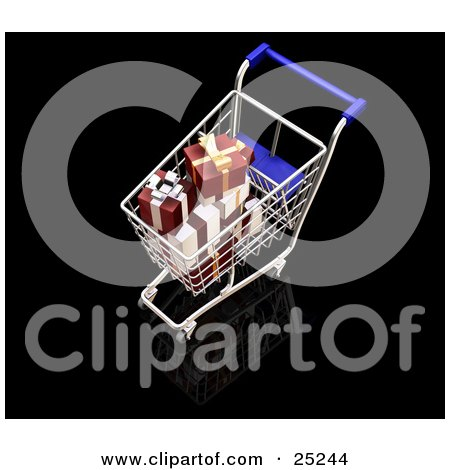 Clipart Illustration of Wrapped White And Red Christmas Presents In A Metal Shopping Cart With A Blue Handle by KJ Pargeter