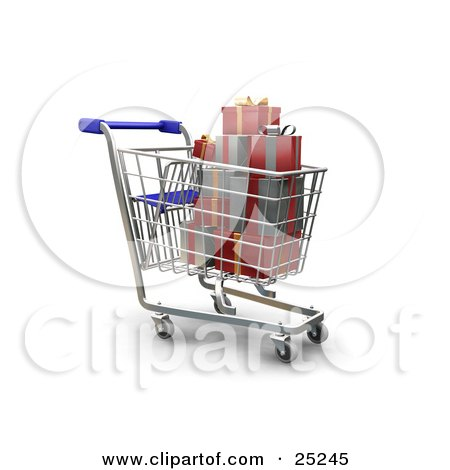 Full Metal Shopping Cart With Wrapped Christmas Gifts Posters, Art Prints