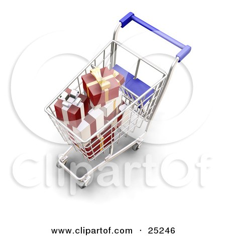 Clipart Illustration of Wrapped Christmas Presents In A Metal Shopping Cart With A Blue Handle by KJ Pargeter