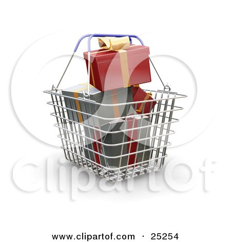 Clipart Illustration of Red And Green Wrapped Christmas Presents Piled In A Metal Shopping Basket With Blue Handles by KJ Pargeter