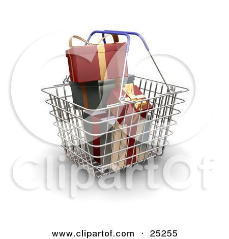 Clipart Illustration of a Metal Shopping Basket With Blue Handles, Full Of Wrapped Red And Green Christmas Presents by KJ Pargeter